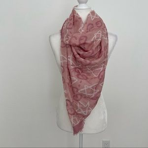GUCCI Pink and White Ghost Stars Silk Scarf